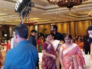 manchu vishnu and veronika in chandana deethi wedding, చందన దీప్తి పెళ్ళిలో మంచు విష్ణు దంపతులు